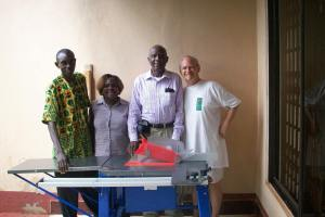 Alhaji, Charity, Lindzie, and Chris pictured with THE ELECTRIC SAW!
